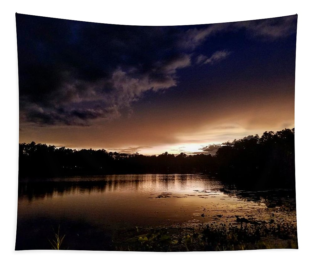 Sunset Tapestry featuring the photograph Dark Reflections by Shena Sanders
