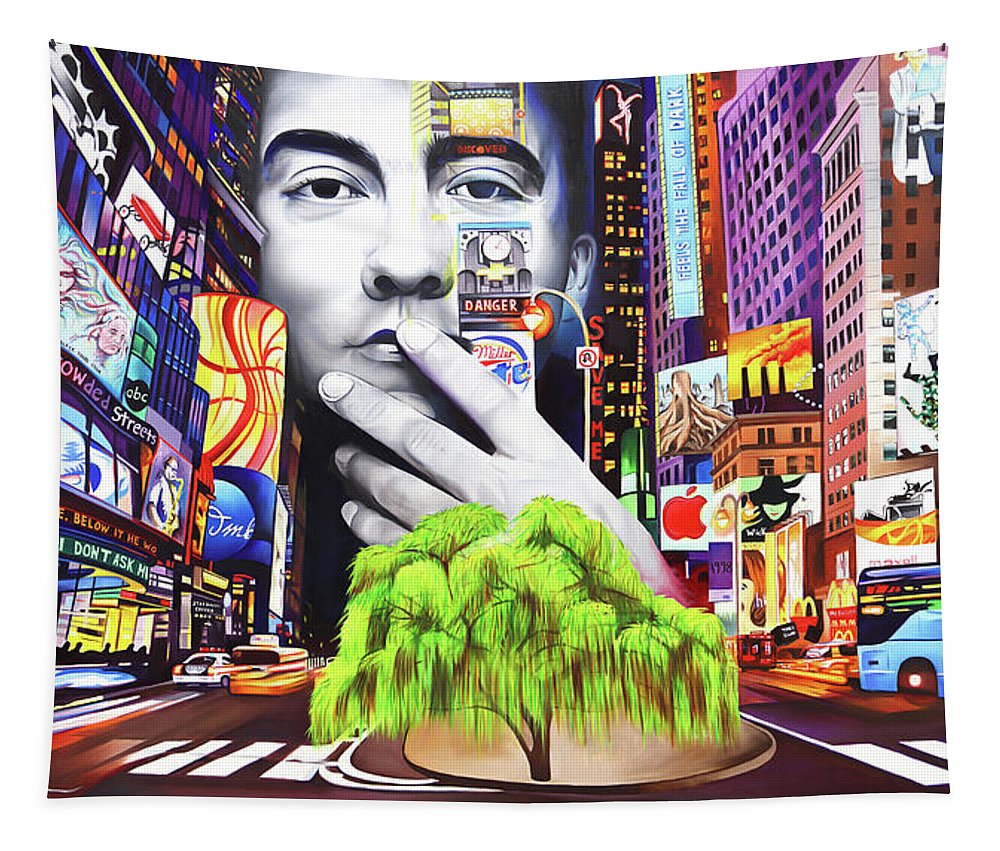 The Dave Matthews Band Tapestry featuring the painting Dave Matthews Dreaming Tree by Joshua Morton