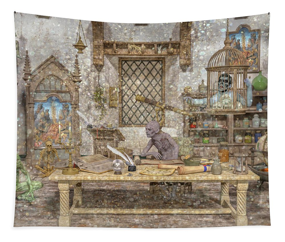 Wizard Tapestry featuring the digital art Decisions Of The Damned by Betsy Knapp