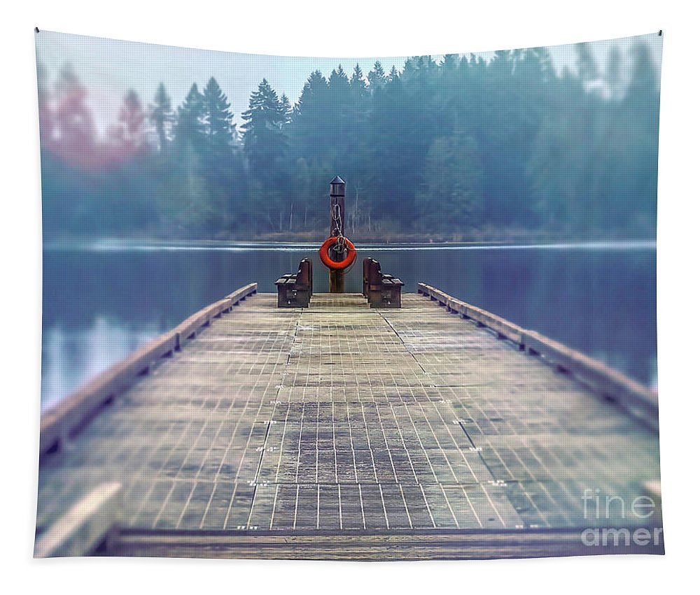 Dock Tapestry featuring the photograph Deep Lake Dock by Jean OKeeffe Macro Abundance Art
