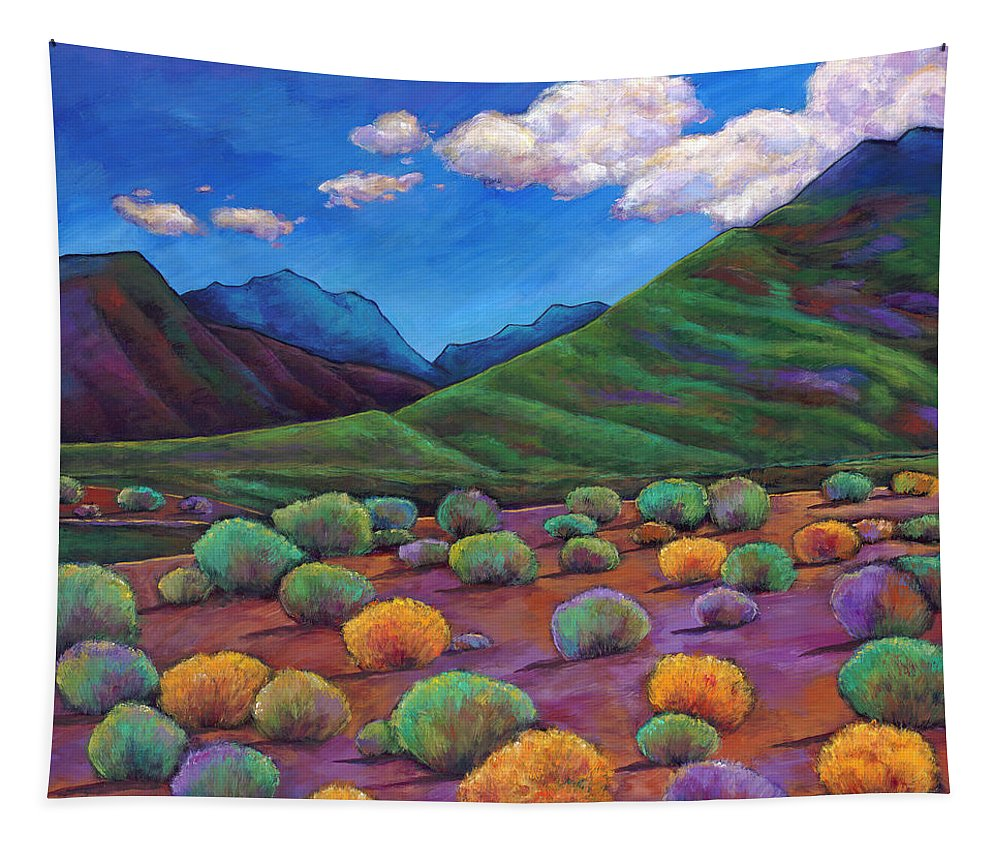 Arizona Tapestry featuring the painting Desert Valley by Johnathan Harris