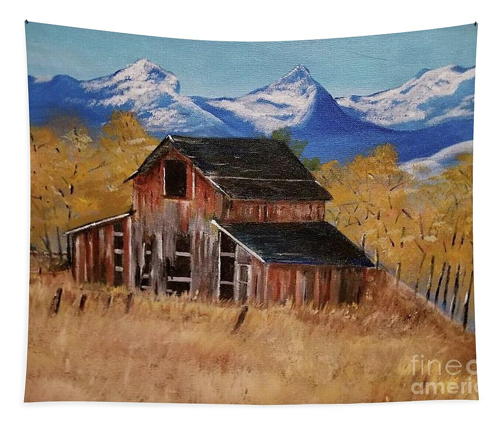 Tapestry featuring the painting Deserted Barn by Jill DeFinis