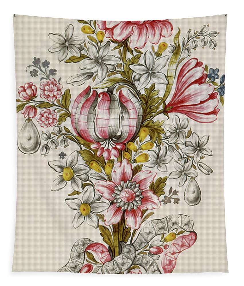 Floral Tapestry featuring the painting Design For Sprays Of Flowers by Italian School