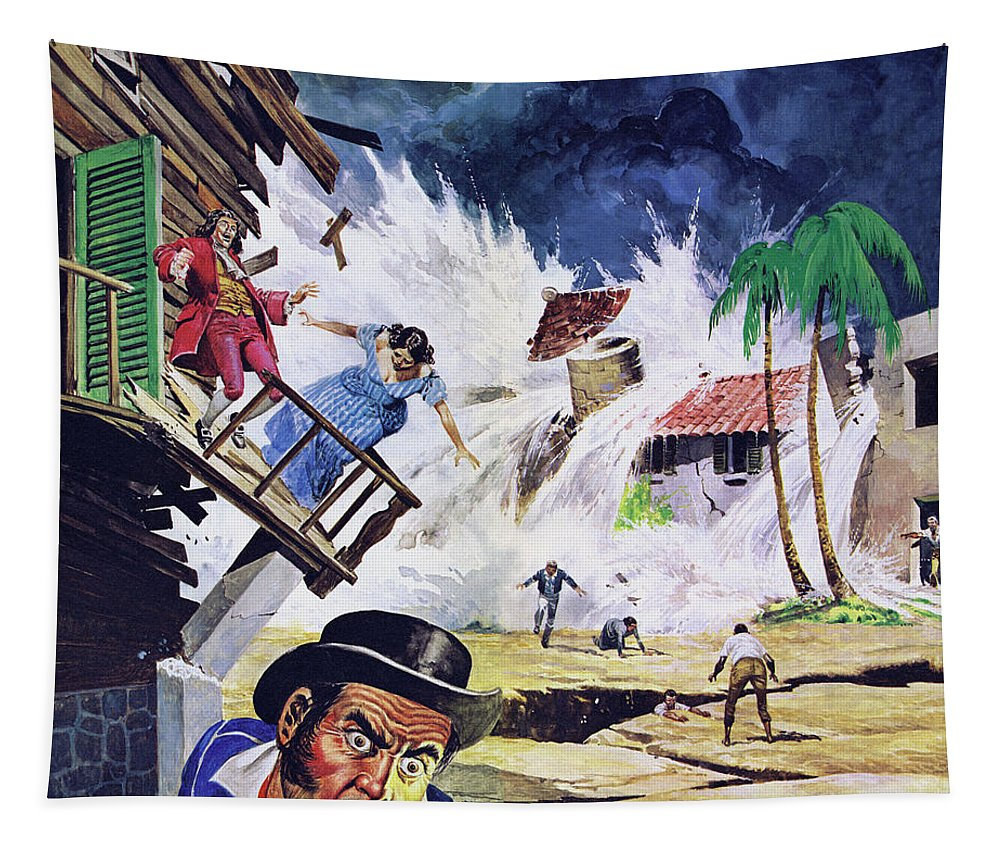 Caribbean Tapestry featuring the painting Destruction Of Port Royal By A Tidal Wave In 1692 Color Litho by Don Lawrence
