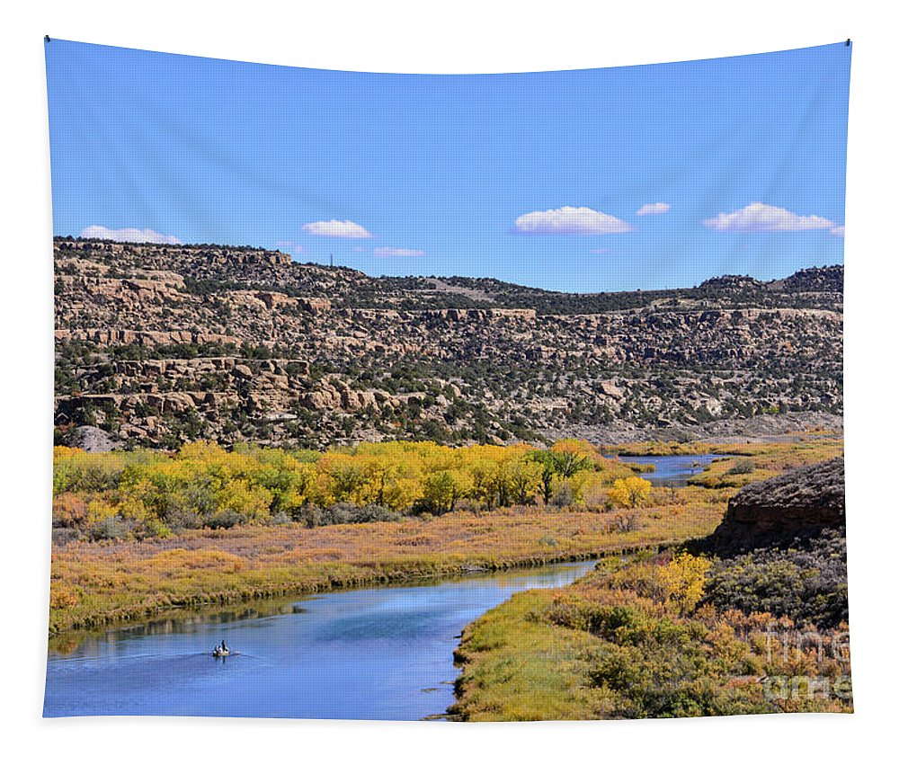 Distant Tapestry featuring the photograph Distant Boat On The San Juan River In Fall by Brenda Landdeck