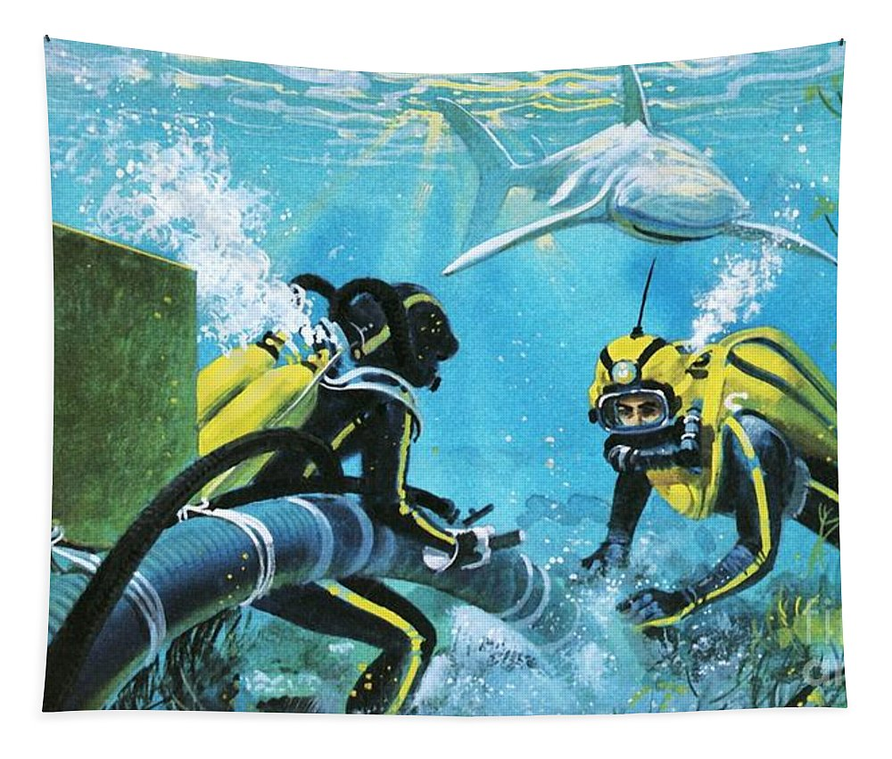 Shark Tapestry featuring the painting Divers Investigating The Remains Of Port Royal by Andrew Howat