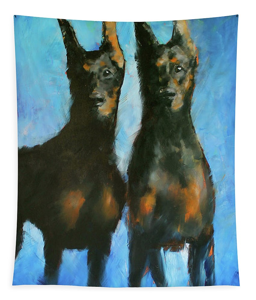 Dogs Tapestry featuring the painting Doberman Family by Alan Metzger