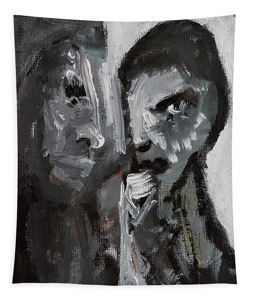Double Portrait Tapestry featuring the painting Double Portrait by Edgeworth DotBlog