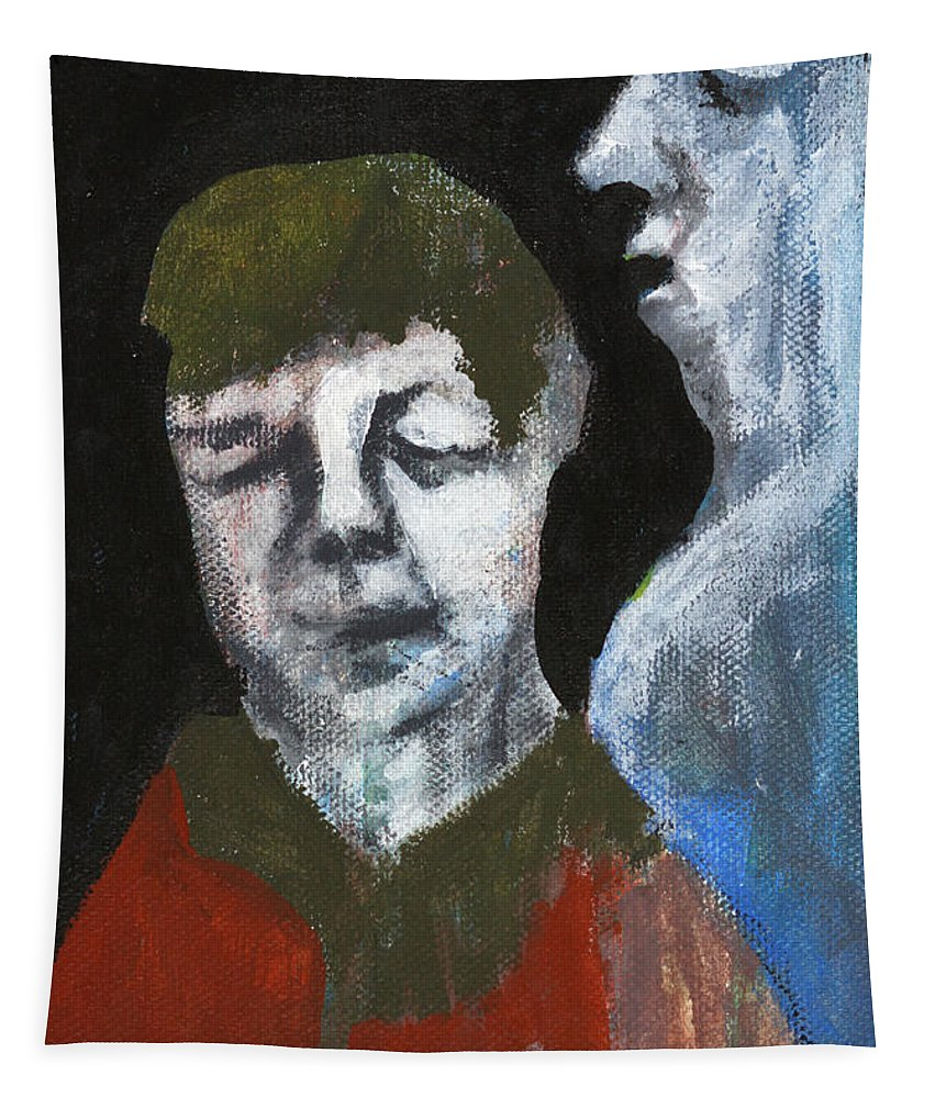 Double Portrait Tapestry featuring the painting Double Portrait On Black by Edgeworth DotBlog