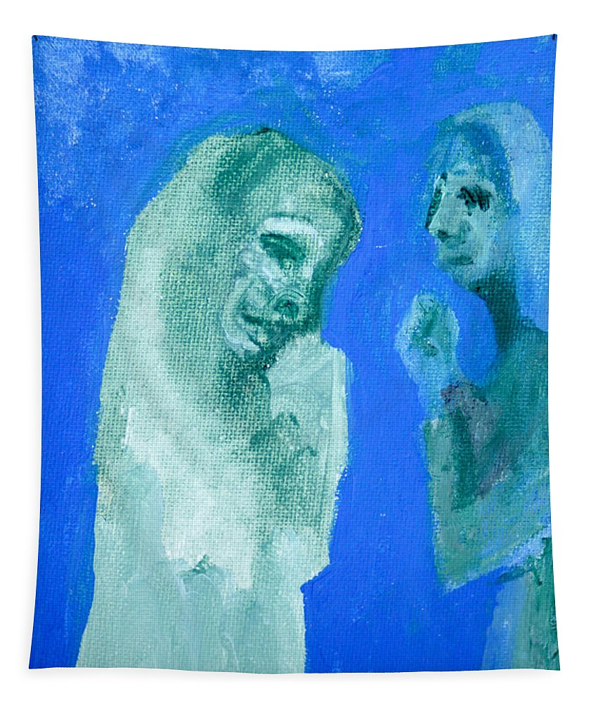 Blue Tapestry featuring the painting Double Portrait On Blue Sky by Edgeworth DotBlog