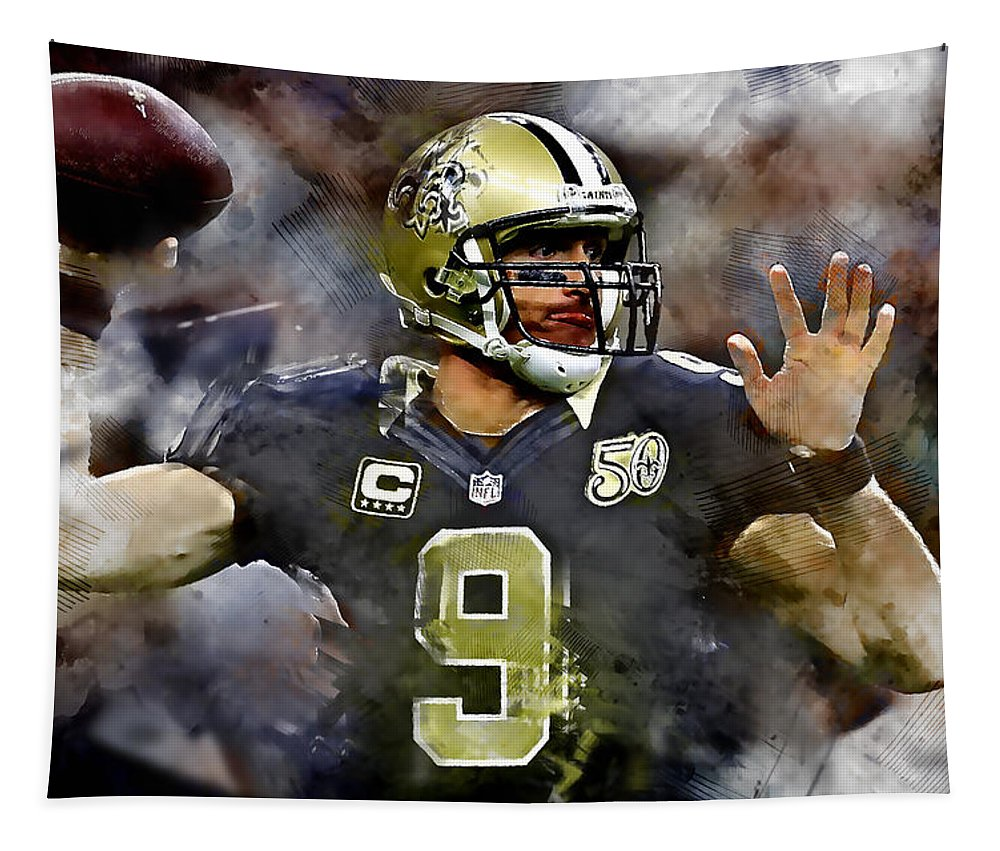 Drew Brees Tapestry featuring the mixed media Drew Brees by Marvin Blaine