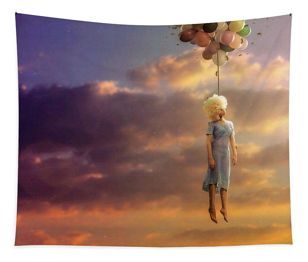 Surreal Tapestry featuring the digital art Drifting On A Sad Song by Mario Sanchez Nevado