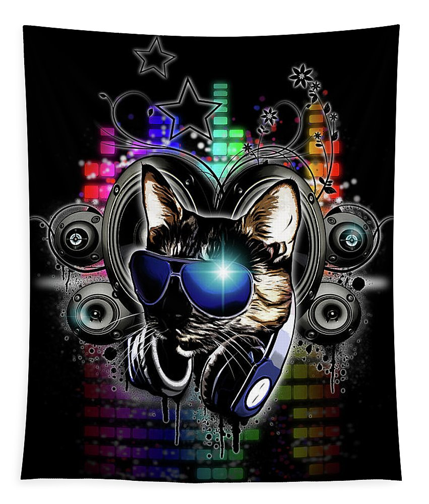 Cool Tapestry featuring the digital art Drop The Bass by Nicklas Gustafsson