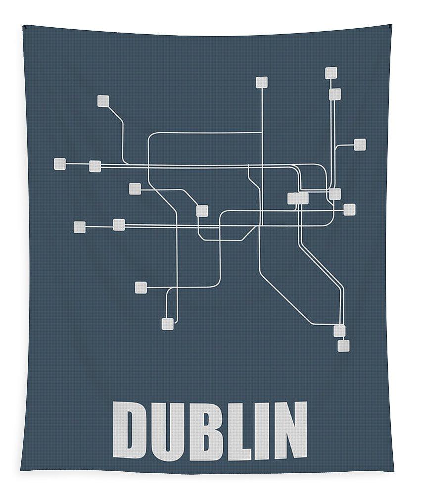 Dublin Tapestry featuring the digital art Dublin Subway Map by Naxart Studio