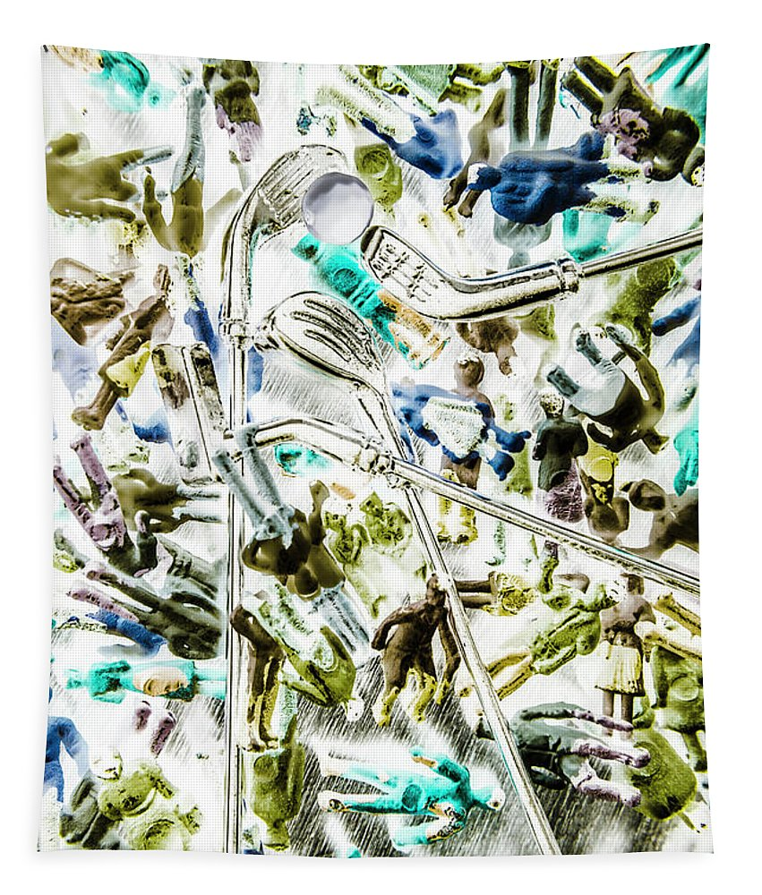 Abstract Tapestry featuring the photograph Dynamic Range Golfers by Jorgo Photography - Wall Art Gallery