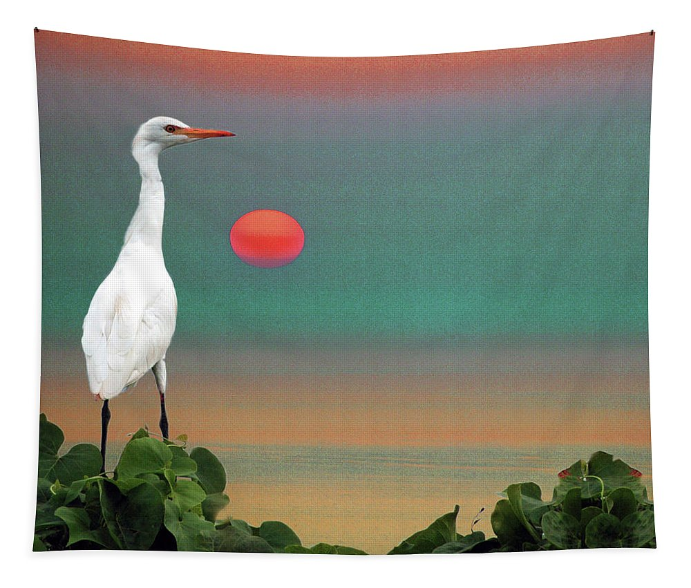 Wildlife Tapestry featuring the photograph Egret At Evening by Susan Burger
