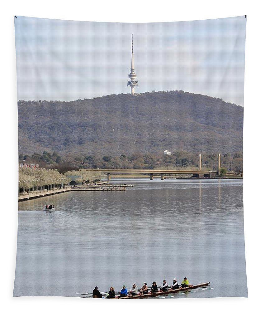 Canberra Tapestry featuring the photograph Eight On The Lake - 09222018 by Anthony Croke