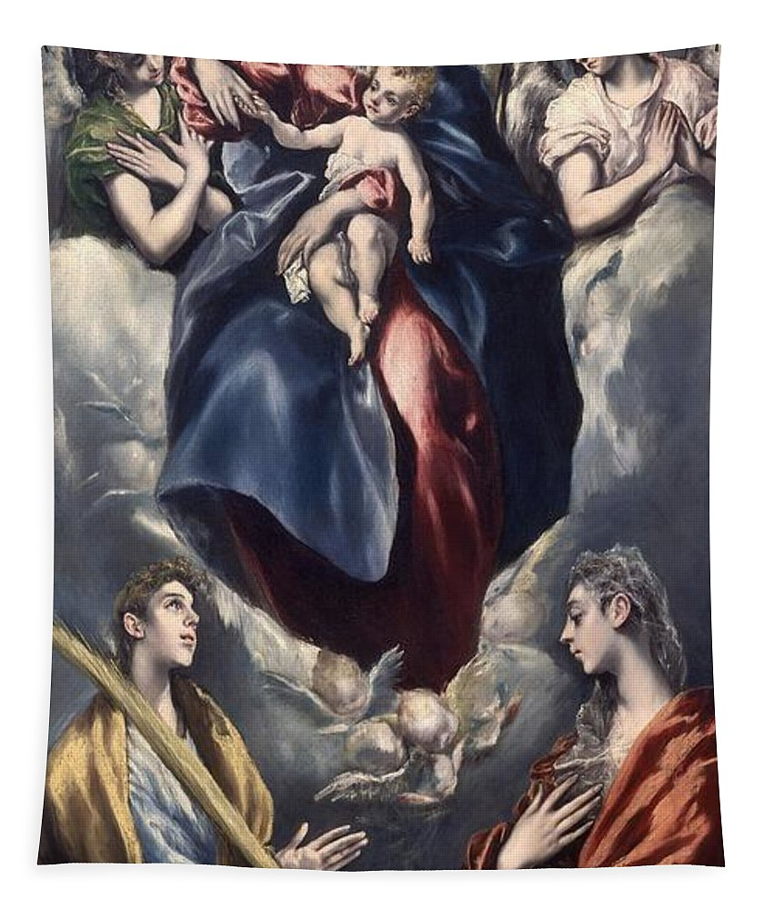 El Greco Madonna And Child With Saint Martina And Saint Agnes Date Period Between 1597 And 1599 Tapestry For Sale By El Greco 1541 1614