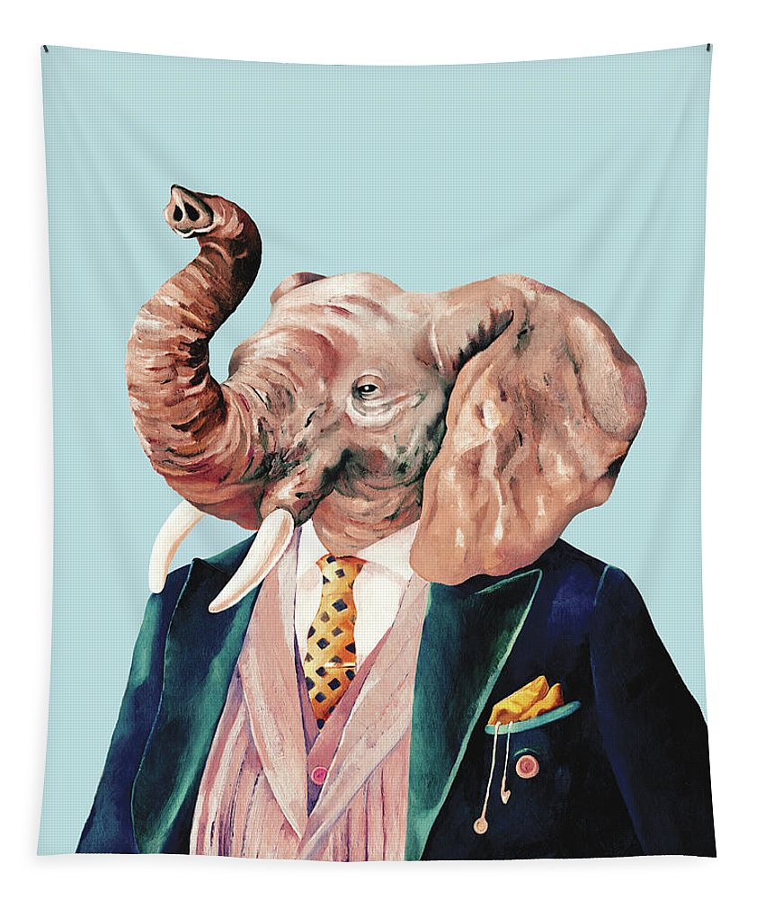 Elephant Tapestry featuring the painting Elephant by Animal Crew