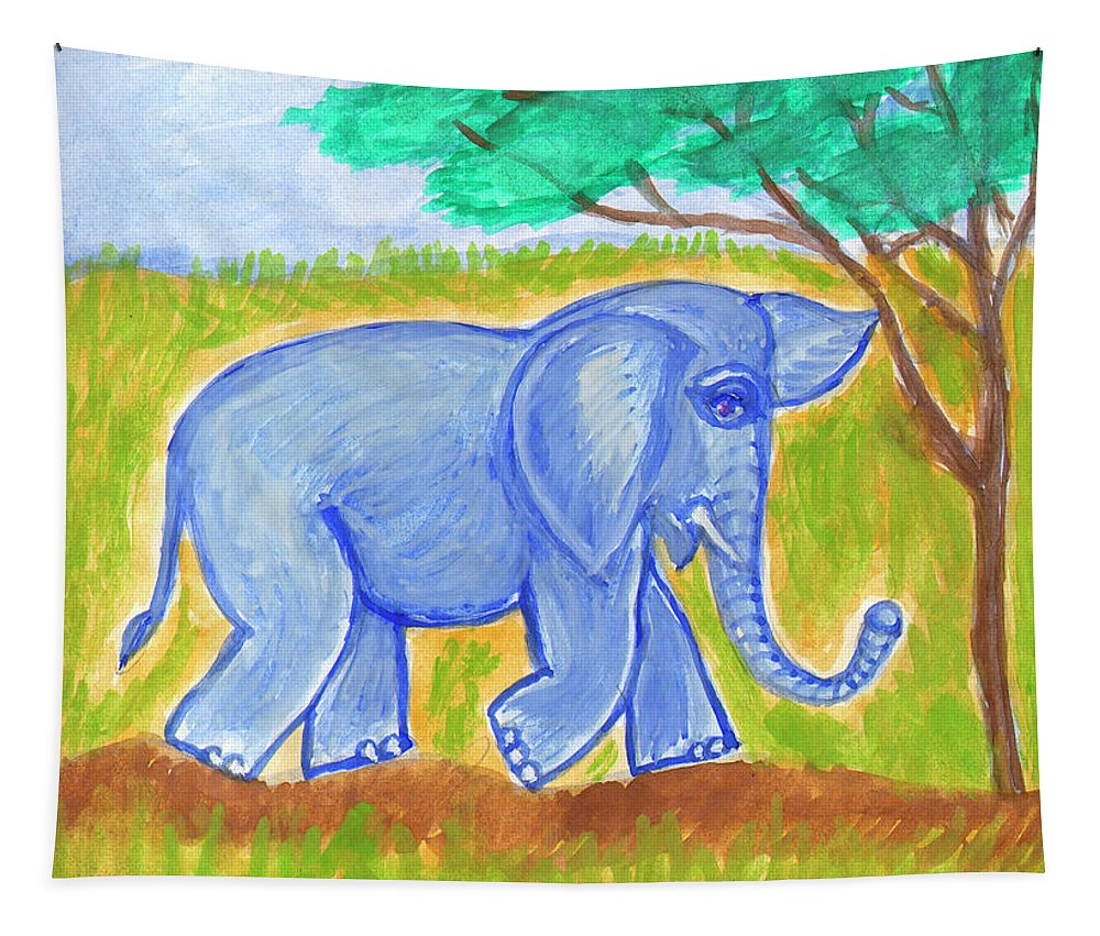 Nature Tapestry featuring the painting Elephant by Dobrotsvet Art