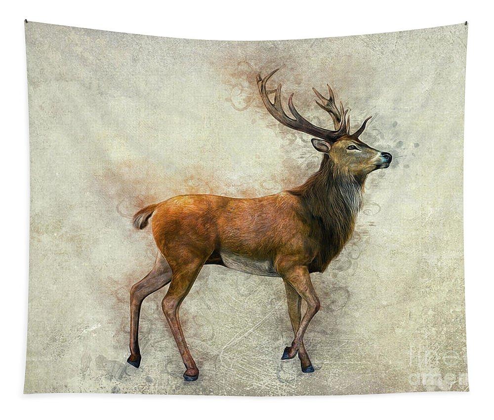 Elk Tapestry featuring the digital art Elk Art by Ian Mitchell