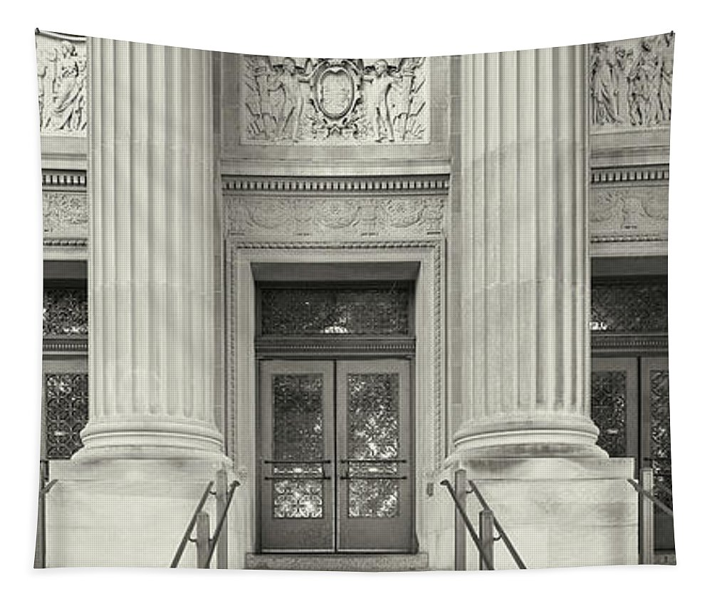 Photography Tapestry featuring the photograph Entrance To The University Building by Panoramic Images