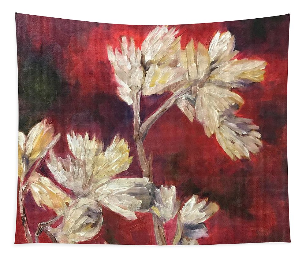Fall Flowers Tapestry featuring the painting Fall Flowers by Vonda Drees