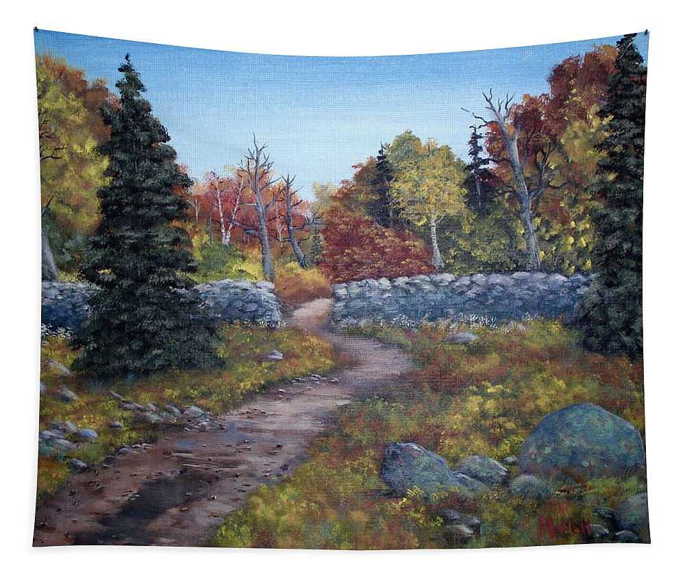 Fall Tapestry featuring the painting Fall Path by Megan Walsh