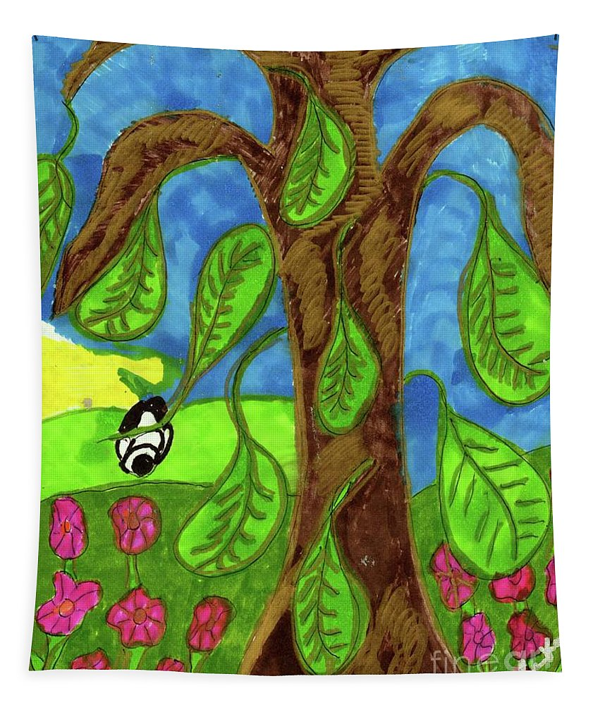 Tree Green Leaves Rabbit Tapestry featuring the mixed media Falling Leaves by Elinor Helen Rakowski