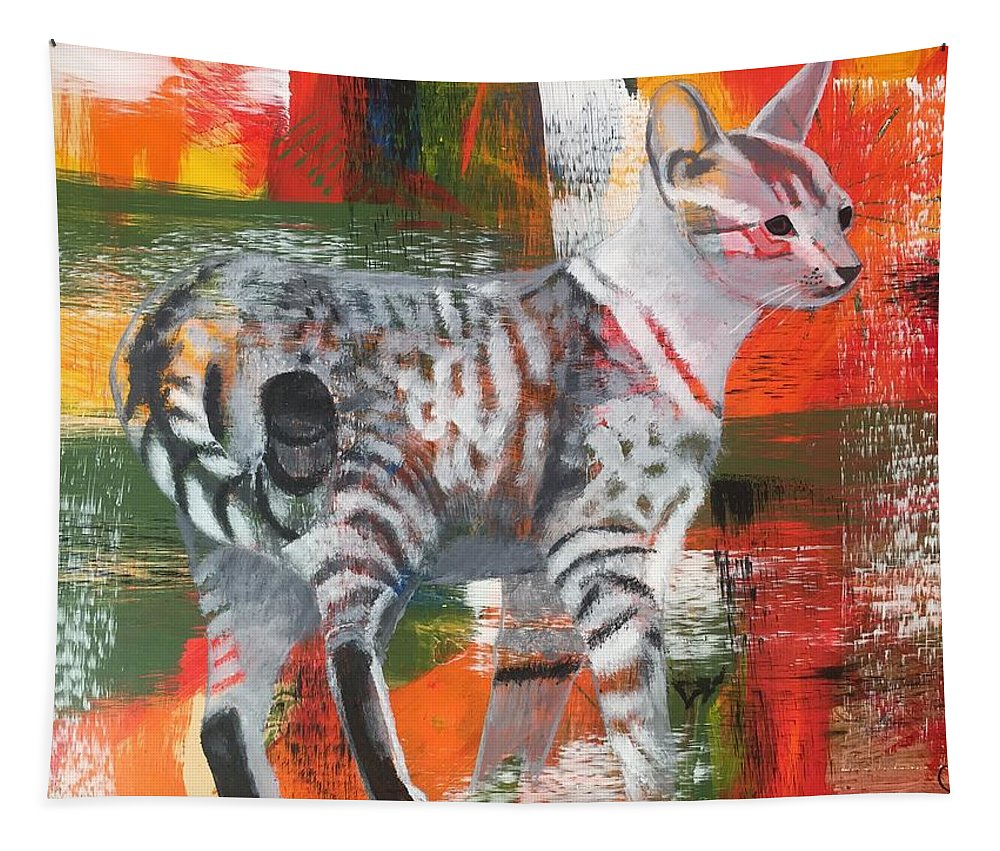 Cat Tapestry featuring the painting Feral by C Zimmer Art Studio