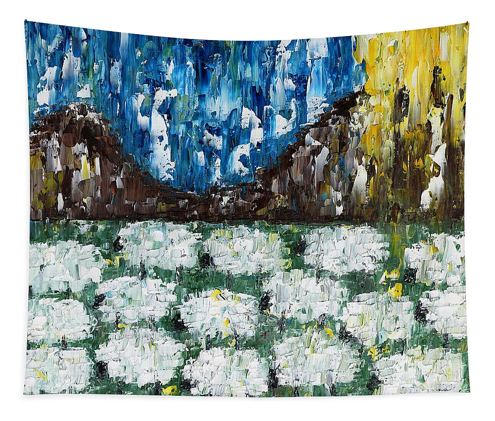 Farms Tapestry featuring the painting Flock Of Sheep by Patrick J Murphy