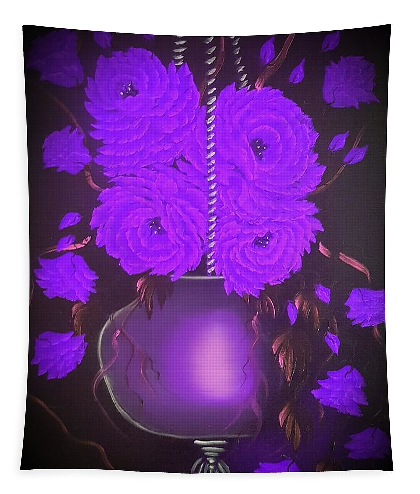 Purple Tapestry featuring the painting Floral Roses With So Much Passion In Purple by Angela Whitehouse