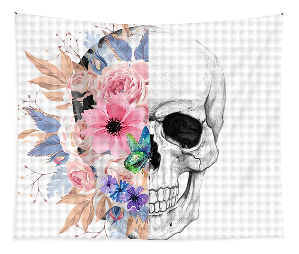 Floral Tapestry featuring the photograph Floral Skull 2 by Nina Ficur Feenan