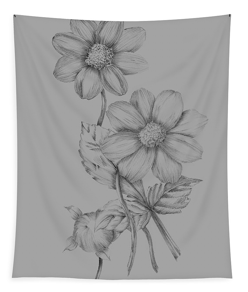 Flower Tapestry featuring the mixed media Flower Sketch by Naxart Studio