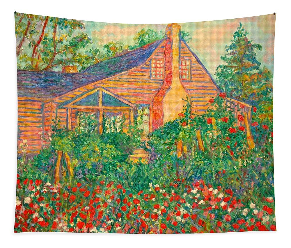 Homes Tapestry featuring the painting Flowery Backyard by Kendall Kessler
