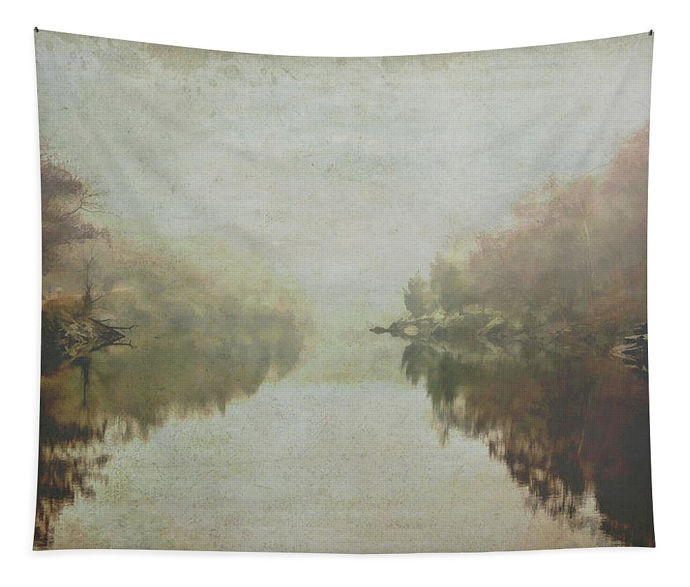 Abstract Landscape Tapestry featuring the photograph Foggy Potomac Waterscape by Francis Sullivan