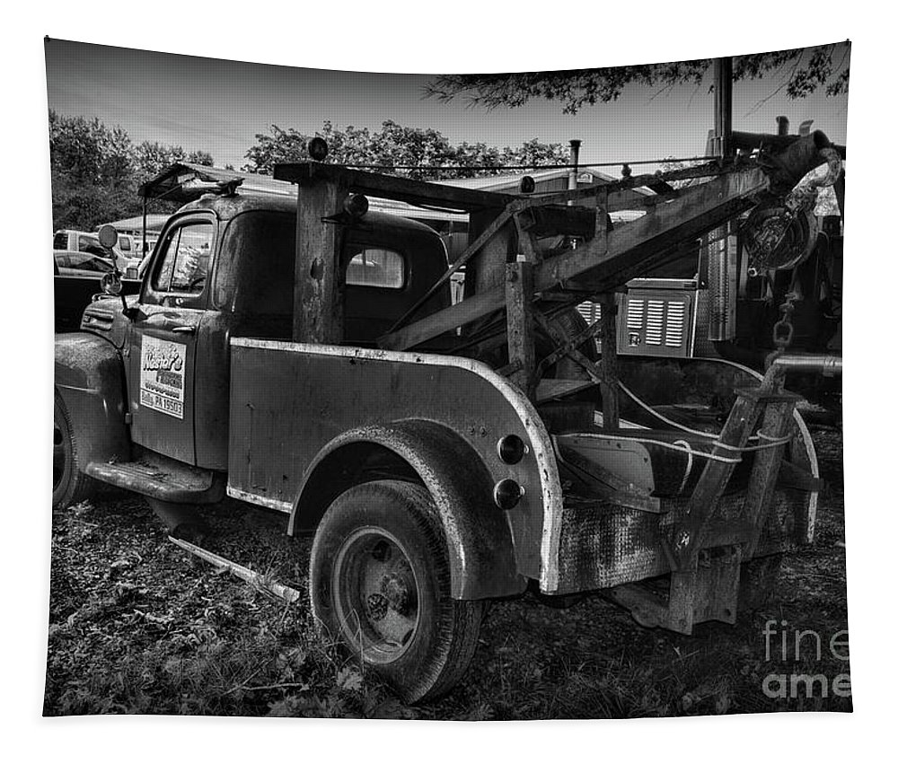 Paul Ward Tapestry featuring the photograph Ford F4 Tow The Truck Business End Black And White by Paul Ward