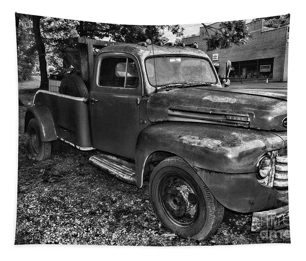 Paul Ward Tapestry featuring the photograph Ford F4 Tow The Truck Hook And Book Black And White by Paul Ward