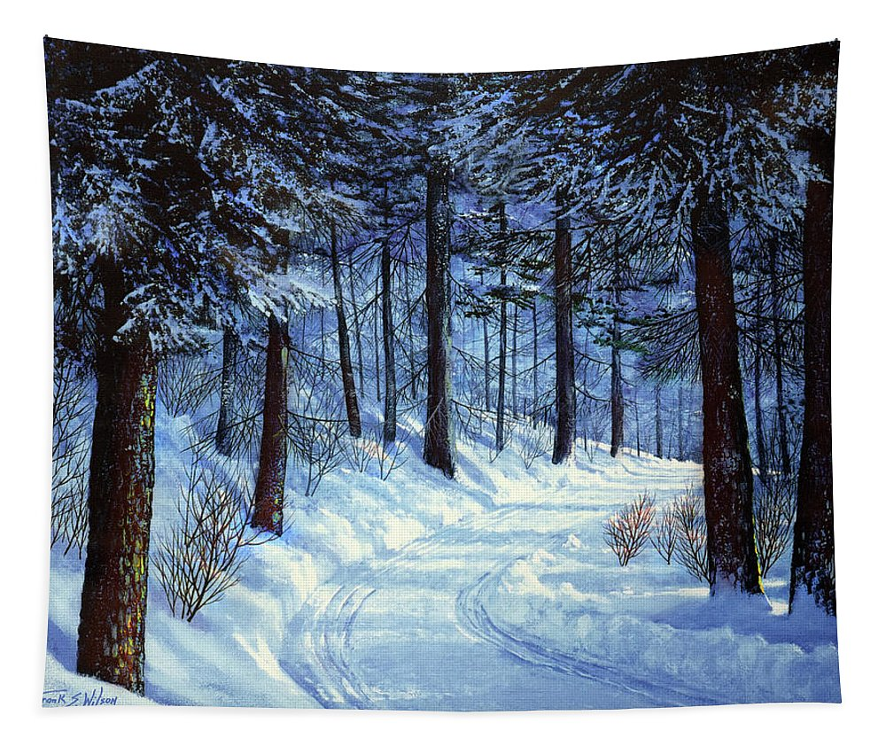 Landscape Tapestry featuring the painting Forest Road by Frank Wilson