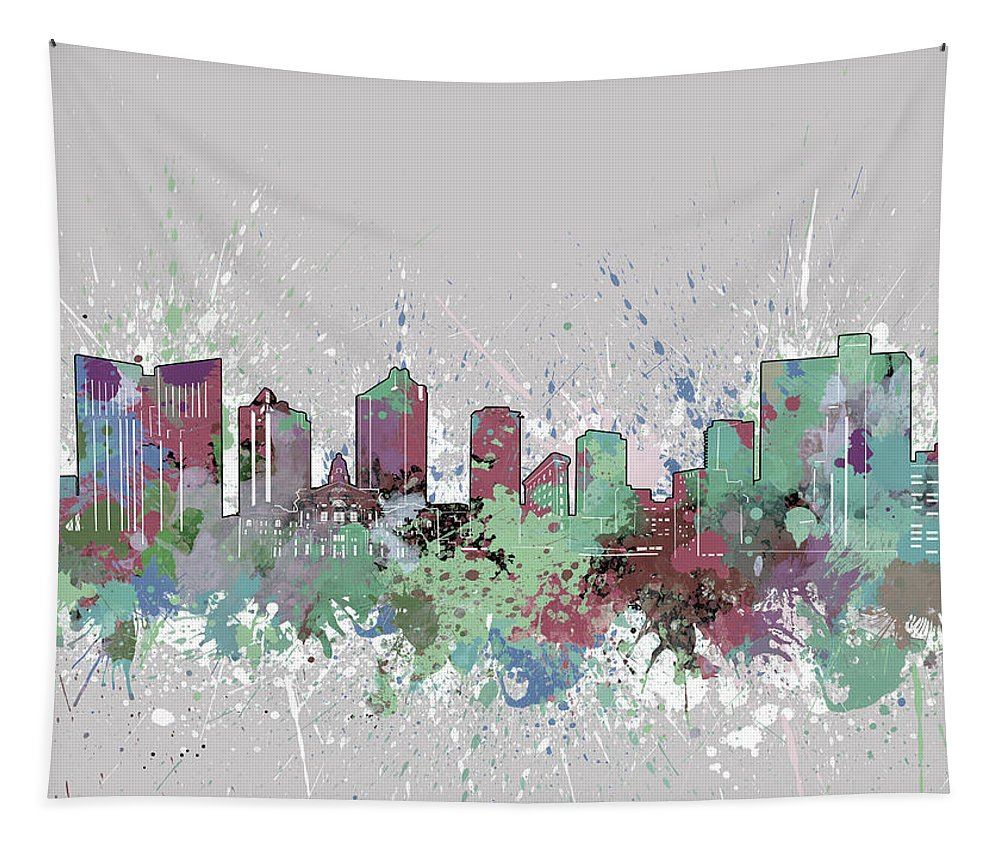 Fort Worth Tapestry featuring the digital art Fort Worth Skyline Artistic Pastel by Bekim Art