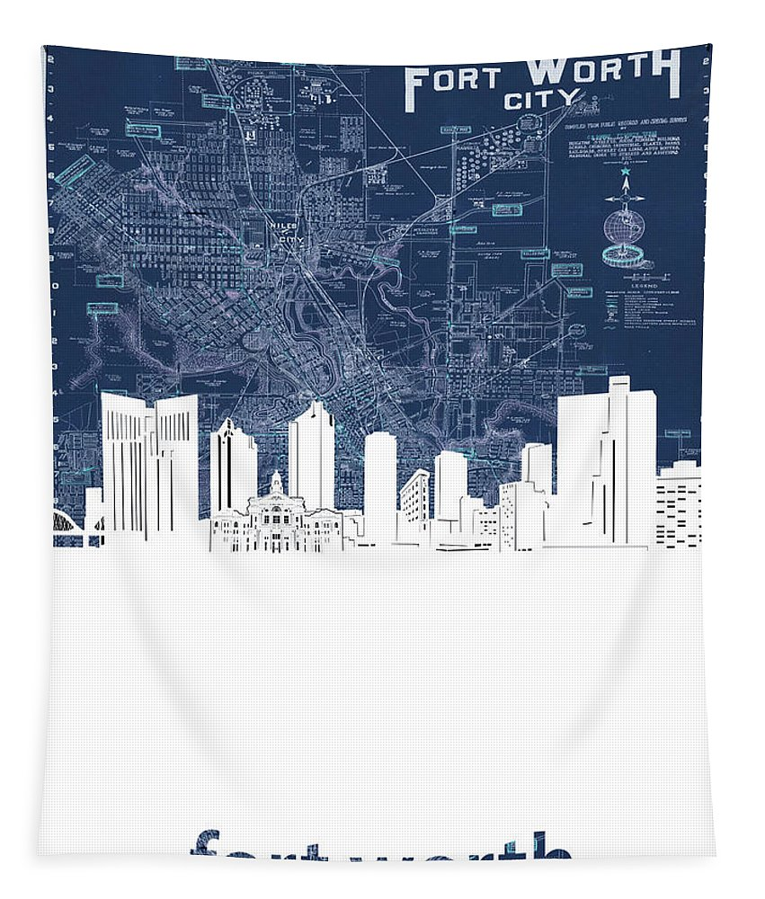 Fort Worth Tapestry featuring the digital art Fort Worth Skyline Map Blue by Bekim M