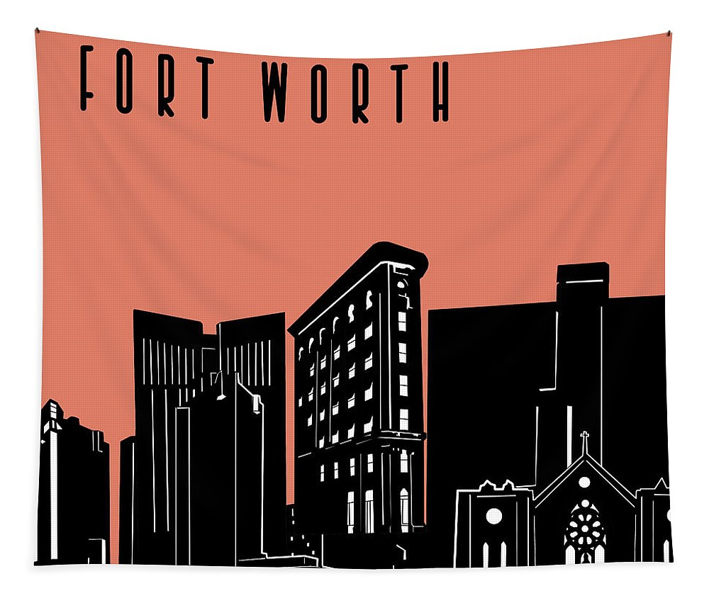 Fort Worth Tapestry featuring the digital art Fort Worth Skyline Panorama Red by Bekim Art