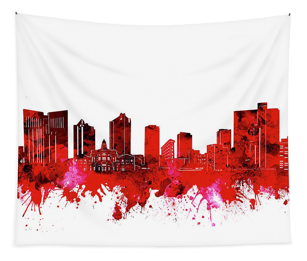 Fort Worth Tapestry featuring the digital art Fort Worth Skyline Red by Bekim Art