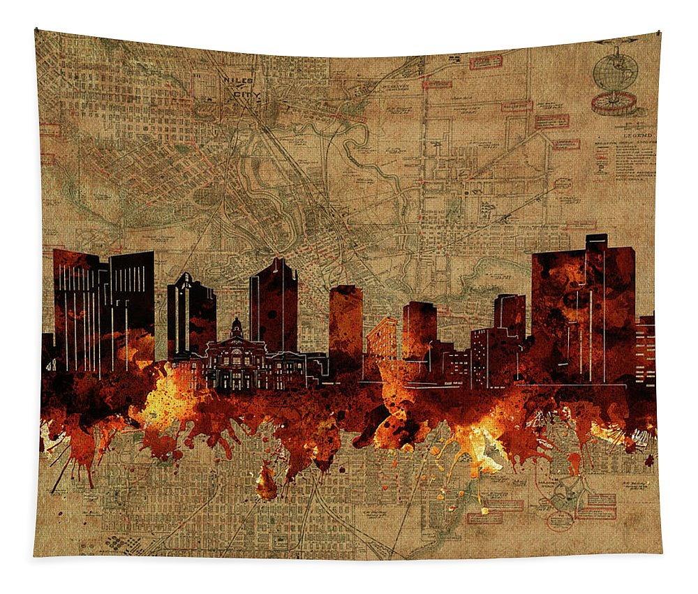 Fort Worth Tapestry featuring the digital art Fort Worth Skyline Vintage 2 by Bekim Art