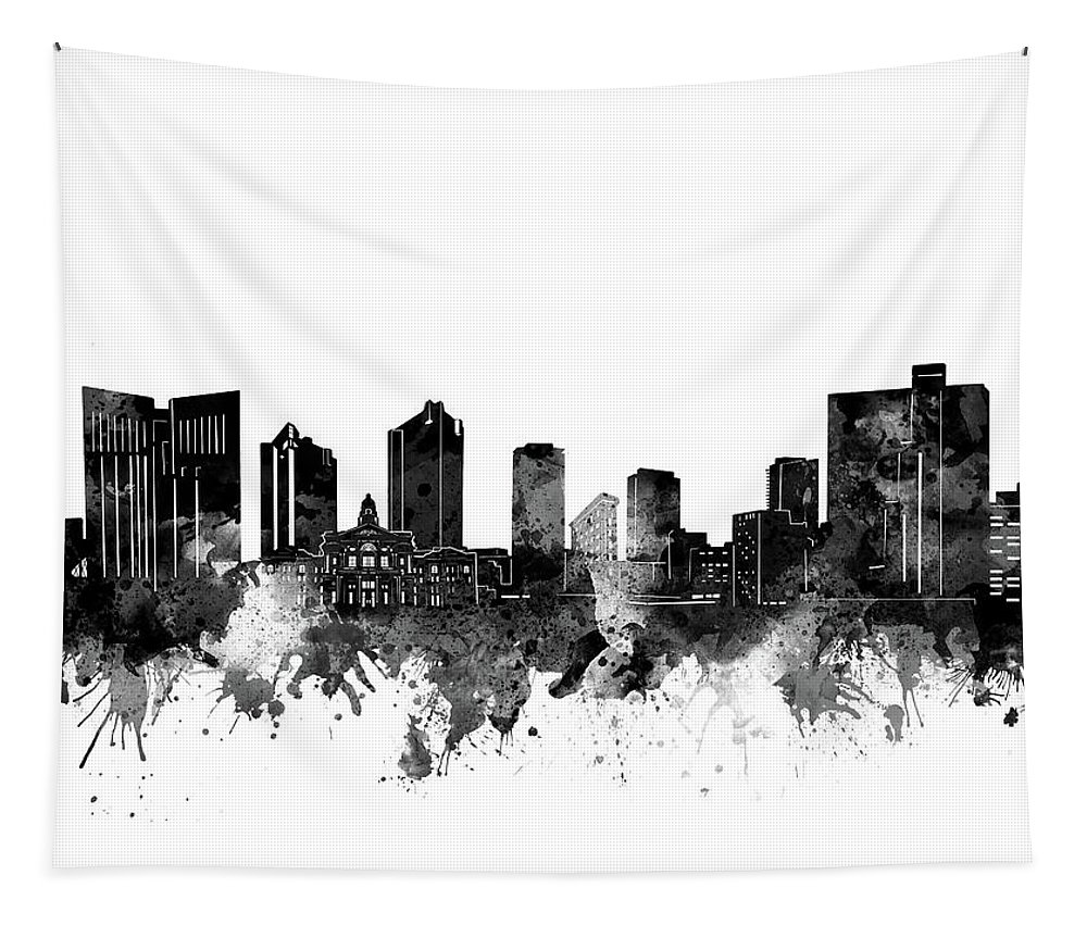 Fort Worth Tapestry featuring the digital art Fort Worth Skyline Watercolor Black And White by Bekim Art