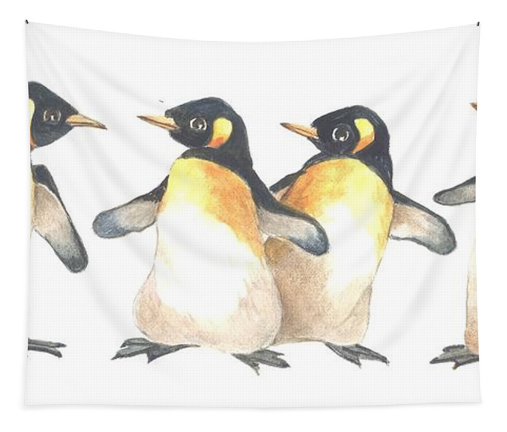Penguin Tapestry featuring the painting Four Penguins by Carolyn Shores Wright