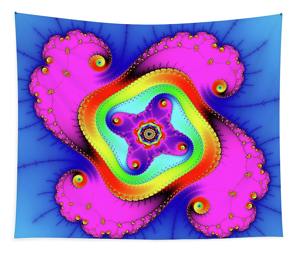 Fractal Tapestry featuring the photograph Fractal Art With Bold Colors Square by Matthias Hauser