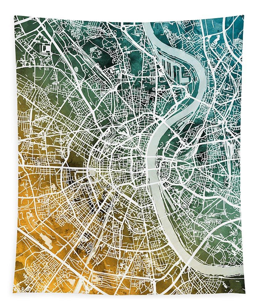 Frankfurt Tapestry featuring the digital art Frankfurt Germany City Map by Michael Tompsett
