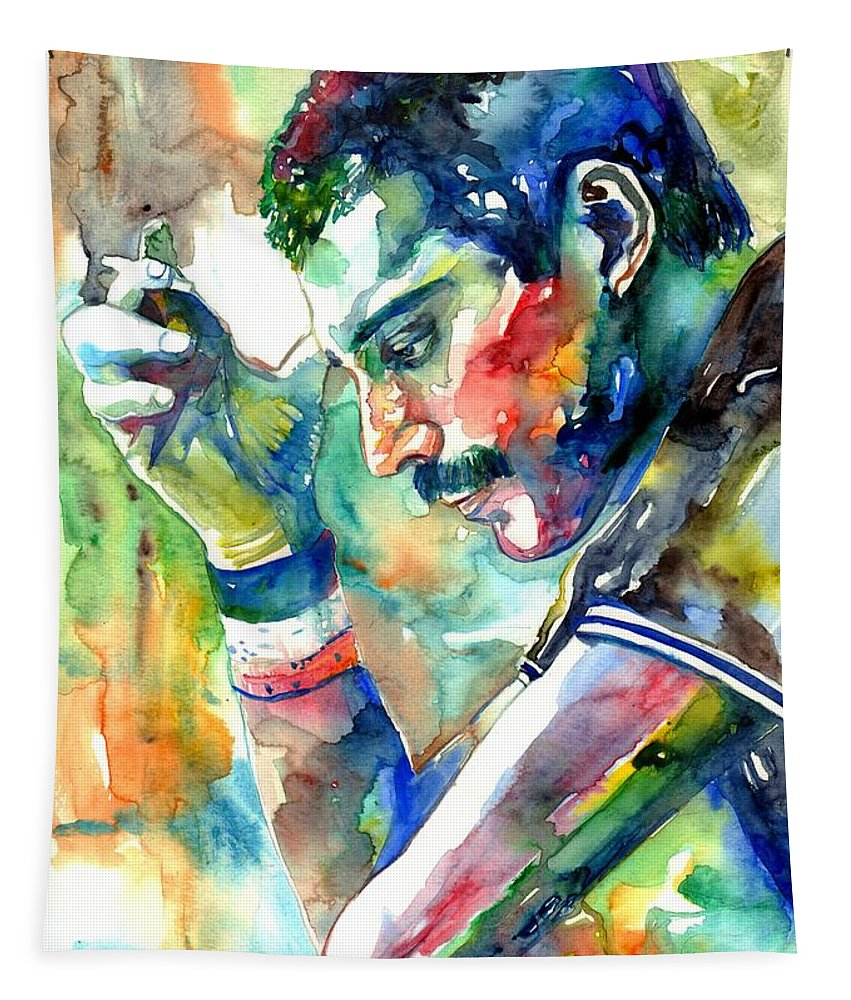 Freddie Mercury Tapestry featuring the painting Freddie Mercury With Cigarette by Suzann Sines