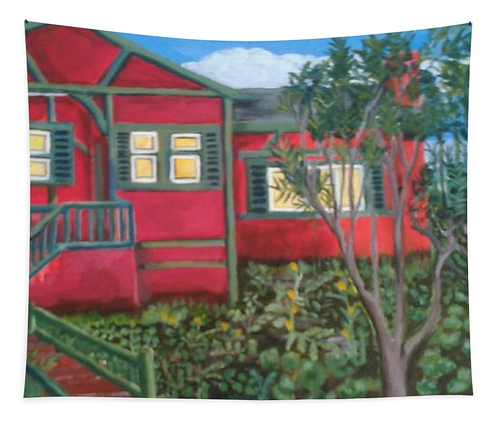 Painting Of House Tapestry featuring the painting Fresh yard by Andrew Johnson